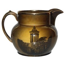 Ridgway English Transferware Pitcher, Bronze and Deep Brown