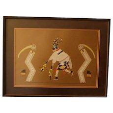Pueblo Painter Richard Martinez Pochoir, Stag Dancer