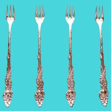 """Set of 4 Rogers & Bro. """"Columbia"""" Sea Serpent Cocktail Forks"""
