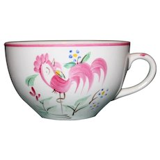 Vintage English Red Rooster Cup, Chanticleer Ware, Fondeville