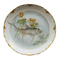 Antique German Rosenthal Plate, Fish and Pond LIlies