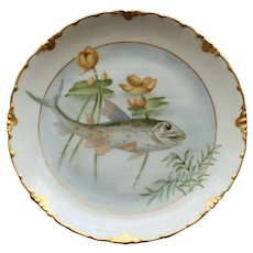 Antique Rosenthal Plate, Fish and Pond LIlies