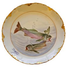 Antique Rosenthal Fish Plate with Two Swimming Fish