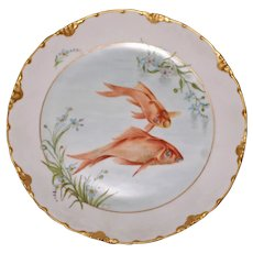 Antique Rosenthal Fish Plate with Two Gold Fish
