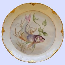 Antique Rosenthal Fish Plate with Majestic Swimming Fish