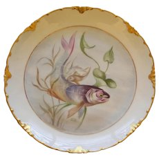 Antique Continental Rosenthal Fish Plate with Majestic Swimming Fish