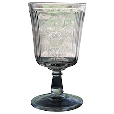 """""""Rose Sprig"""" Goblet, Early American Pattern Glass"""