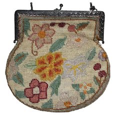 Antique Red and Green Needlepoint Purse