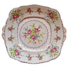 "Vintage English Royal Albert Bone China Cake Plate, ""Petit Point China."""