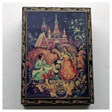 Russian Lacquered Box with Castle Scene