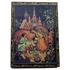 Russian Lacquered Box with Castle Scene