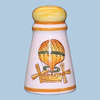 Antique French Faience Hand Painted Salt Shaker with Hot Air Balloon Motif