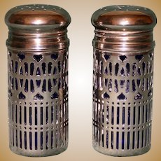 Pair of Tall Salt and Pepper Shakers with Cobalt Glass Liners