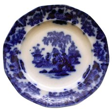 """Antique """"Scinde"""" Flow Blue Transferware Plate by Alcock"""