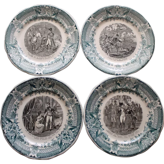 Set of 4 French Antique Faience Napoleon Plates