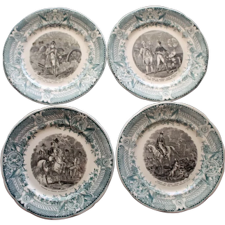 Set of 4 Antique Napoleon Plates
