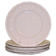 "Set of 5 English Kensington Staffordshire Ironstone Dinner Plates, 10.25"""