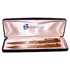 Vintage Sheaffer Pen and Pencil Set with Phillips 66 Insignia on Each, Original Fine Case