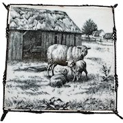 Black & White Transferware Mintons Sheep, William Wise Tile or Trivet, c. 1880