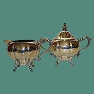 Vintage American Sheridan Silver on Copper Sugar and Creamer, Quality Silver Plate
