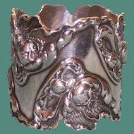 Magnificent George Shiebler Antique American Sterling Napkin Ring, Art Nouveau