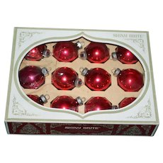 "Box of 12 ""Shiny Bright"" Red Christmas Tree Ornaments"