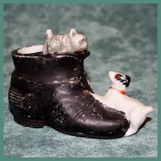 Miniature Porcelain Shoe with Two Playful Dogs