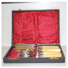 Fish Set for 6, Silver Plate with Celluloid Handles, in Original Box