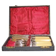 Fish Set for 6, Silverplate with Celluloid Handles, in Original Box