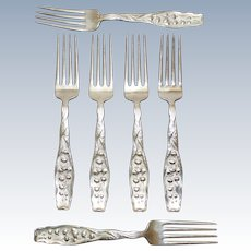 Set of 6 Sterling Whiting Lily of the Valley Dinner Forks, Monogrammed with F
