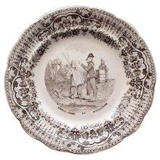 "1848-1851 Antique Humorous Pictorial French Faience Plate, ""Explication du Socialisme"""