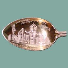 Corsicana, Texas Court House (Navarro County) Sterling Souvenir Spoon