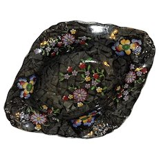 Antique Copeland Spode Bowl with Vivid Colors, Unusual Shape