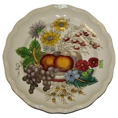 "Spode Dinner Plate in ""Reynolds"" Pattern Featuring Vivid Fruits and Flowers"