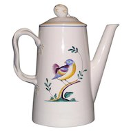Spode Queen's Bird Coffee Pot  with Lid, Full Size, 9 inches