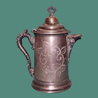 Large Antique Silver Plate Hot Water Pot