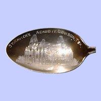 Denison, Texas St. Xavier's Academy Sterling Souvenir Spoon, Enamel on Handle