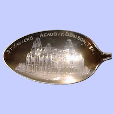 Denison, Texas St. Xavier's Academy Sterling Souvenir Spoon, Enamel on Handle