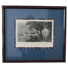 "1872 Antique American Steel Engraving, ""City of St. Louis,"" D. Appleton & Co., Framed"