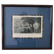 "1872 Antique Steel Engraving, ""City of St. Louis,"" D. Appleton & Co., Framed"