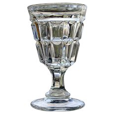 """Tackle Block"" Goblet, Early American Pattern Glass"