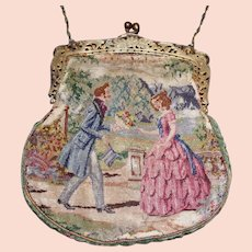 Antique Tapestry Purse with Architectural Scene and Dog