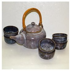 Vintage Pottery Teapot, Signed,  and 6 Handleless Cups