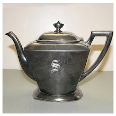 "Silver Plate Teapot, Monogrammed ""S"""