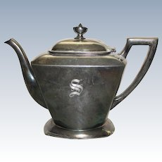 """Silver Plate Teapot, Monogrammed """"S"""""""