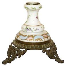 French  Porcelain Candlestick with Reticulated Scrolled Metal Footed Base