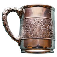 "1875-1891 Tiffany Antique Sterling Silver Mug, ""Children's Parade"""
