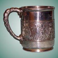 "1875-1891 Tiffany Antique Sterling Silver Mug, ""Children's Parade"""