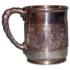 "Tiffany 241.6 Grams Antique Sterling Silver Mug, ""Children's Parade"" 1875-1891"