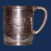 "Antique Tiffany  American Sterling Mug (Cup), ""Children's Parade"", 1891-1902"